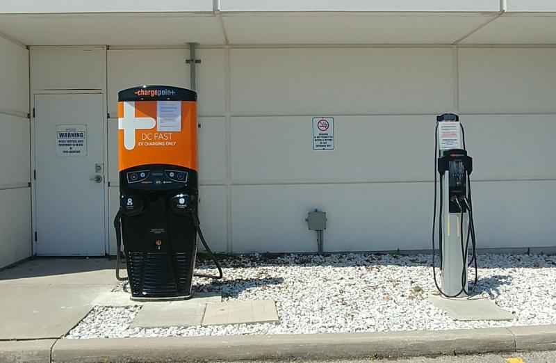 One Quick DC and Two Level 2 Charging Stations Installed at Mitsubishi Canada Offices in Mississauga, ON. - Photo