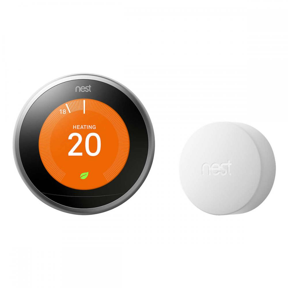 Google Nest 3rd Generation Wi-Fi Smart Learning Thermostat with Nest Temperature Sensor Bundle - Photo</span>