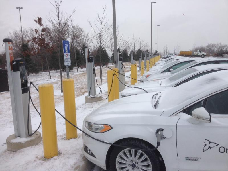 13 ChargePoint CT4000 EV charging stations at Ontario Ministry of Transportation office. - Photo