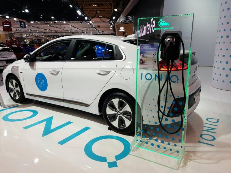 Autochargers.ca Displays EV Charging Stand with Hyundai IONIQ at Toronto International Auto Show. - Photo