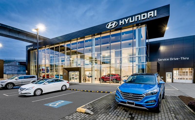 One CPF25 and One CT4000 ChargePoint Stations are Installed at OpenRoad Hyundai Dealership in Richmond, British Columbia. - Photo