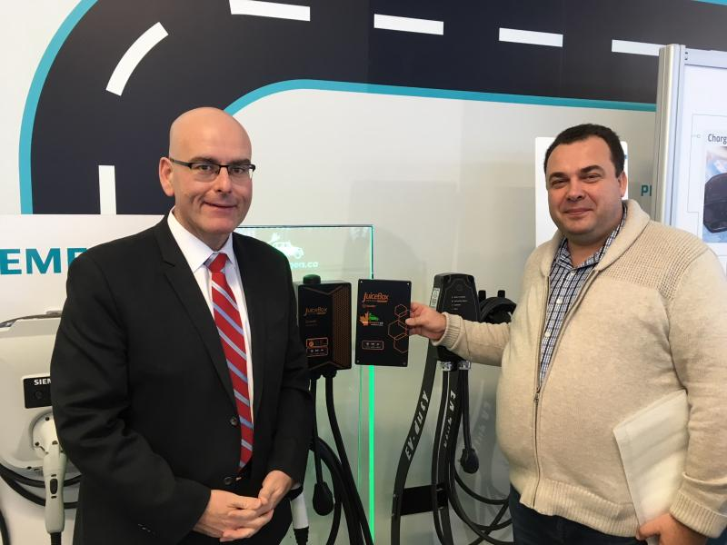 This morning Minister of Transportation, Steven Del Duca, made an announcement about Workplace Electric Vehicle Charging Incentive Program.  - Photo